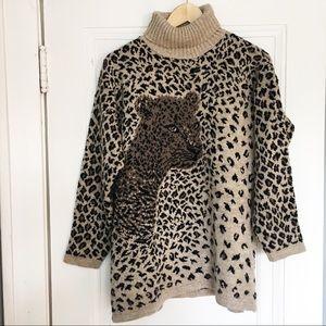 Vintage 80s Leopard Turtleneck Sweater